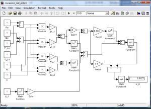 Diagrama de conexión de una red eléctrica normal y un generador eólico