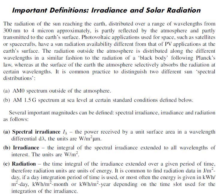 J042: Definiciones de Irradiancia Espectral, Irradiancia y Radiación Solar.