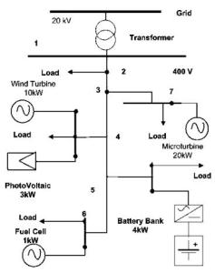 Other example of microgrid con cell fuel wind turbine PV microturbine battery bank and loads
