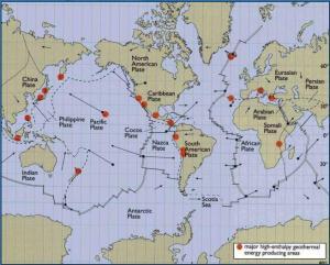 J981_Distribución de placas tectónicas y puntos de mayor entalpía en la Tierra