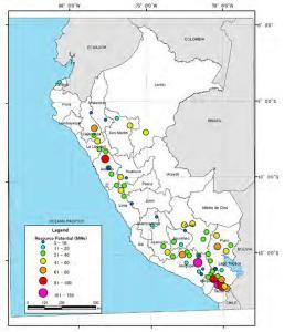 Mapa de Potencial de Recursos Geotérmicos en Perú
